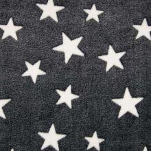 Fleece čierny, biele hviezdy, š.145