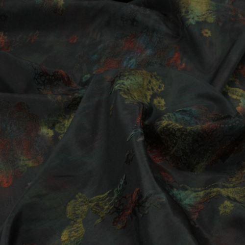 Taft černý, barevná aplikace, š.155