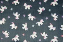 Fleece šedý, jednorožci a hvězdičky, š.145