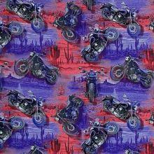 Teplákovina ružovo-modrá, motorky, š.165