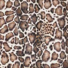 Bavlna biela, hnedý zvierací vzor, š.130