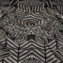 Úplet čierny, béžovo-sivý vzor, š.150