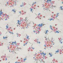Šatovka krémová, růžovo-modré kytice, š.150
