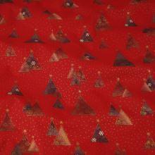 Bavlna červená, vánoční stromečky, š.140