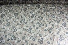 Hodvábny šifón hnedý, kvetinový vzor, š.140