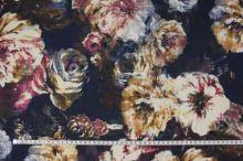 Šatovka tmavě modrá, barevný květ, š.145
