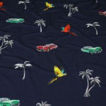 Úplet tmavomodrý, papagáje, autá a palmy, š.145