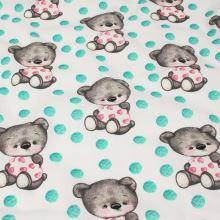 Bavlna bílá, zelený puntík, medvídci, š.160