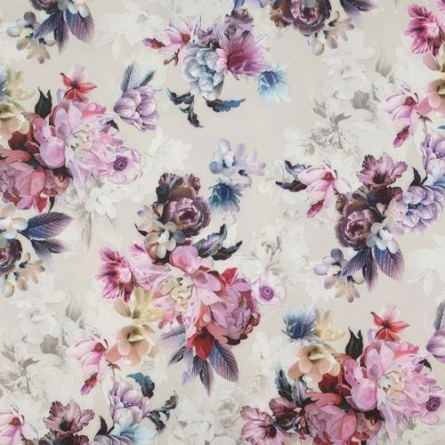 Šatovka béžová, pestrý květinový vzor, š.150