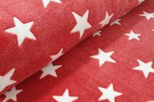 Fleece červený, bílé hvězdy, š.150