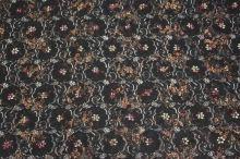 Krajka černá, jemné zlaté a červené květy, š.135