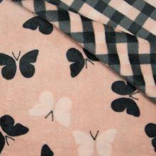 Oboustranný wellsoft pudrový, motýly, š.145