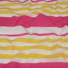 Tkanina ružovo-žlté pruhy, š.150
