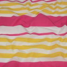 Tkanina růžovo-žluté pruhy, š.150