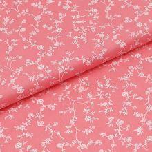 Bavlněné plátno růžové, bílé větvičky, š.140