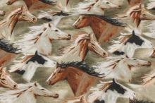 Bavlna béžová, motiv koně, š.140