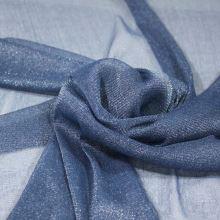 Tyl modrý, štříbrný třpyt, š.155