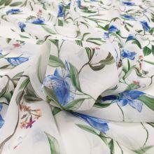 Šifon bílý, modré květy, š.145