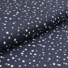 Bavlnené plátno modré, biele hviezdičky, š.140
