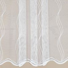 Záclona bílá, svislé vyšívané vlnky, v.180cm
