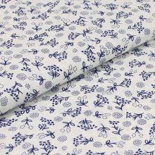 Bavlnené plátno biele, modré kvety, š.140
