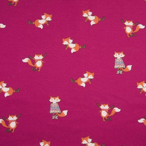 Teplákovina růžová počesaná, lišky, š.145