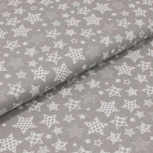 Bavlnené plátno šedé, rôzne biele hviezdy, š.160