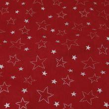 Bavlněné plátno červené, stříbrné hvězdy, š.150