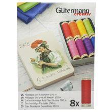 Nitě Gutermann 640952, sada 8 špulek v dárkové kovové krabičce