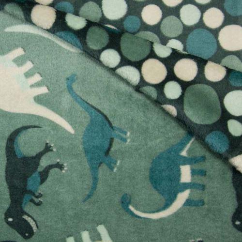 Oboustranný wellsoft zelený, dinosauři, š.145