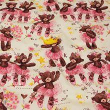 Bavlna krémová, tančící medvědi, žlutá koruna, š.160