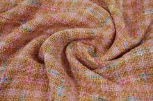 Kostýmovka řůžovo-hnědá, barevné káro š.145