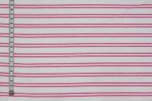 Košeľovina biela, ružový pruh, š.155