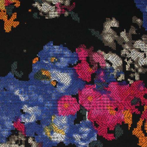 Kostýmovka čierna 15407, farebný vzor, š.150