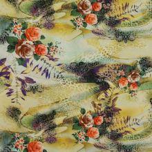 Satén žluto-zelený, vzor 3 růže, š.145