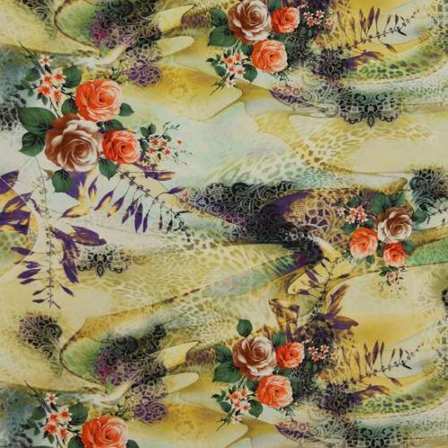 Satén žlto-zelený, vzor 3 ruže, š.145