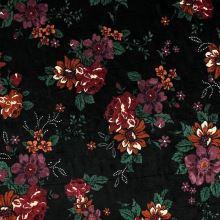 Samet 06645 černý, vínový květ, š.140