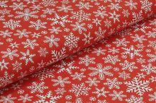 Bavlněné plátno červené, bílé vločky, š.160