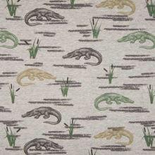 Teplákovina nepočesaná šedá melanž, krokodýli, š.145