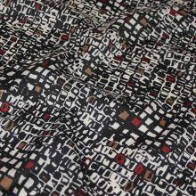 Šatovka černobílá, barevný vzor, š.140