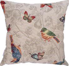 Dekoračný vankúš vtáky a motýle, 45x45 cm