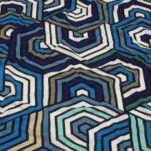 Úplet 18768, modrý geometrický vzor, š.140