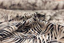 Ľanová kostýmovka čierna, béžovo-biele palmové listy, š.135