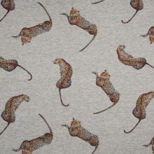 Teplákovina šedá melanž, leopard, š.150