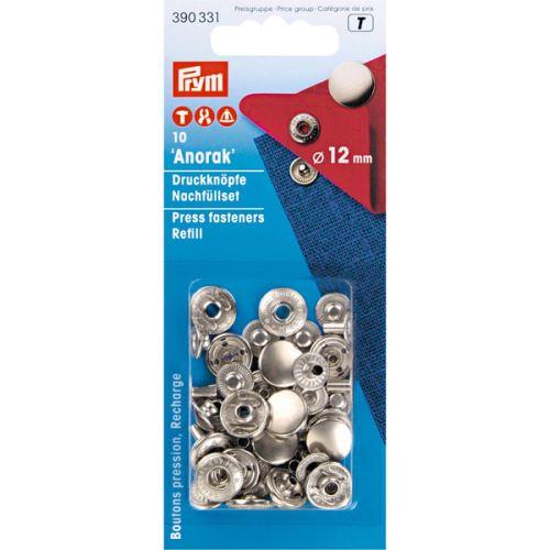 Druky Prym Anorak 390331 stříbrné, cvoček 12 mm, 10ks