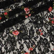 Krajka černá, červenobílý květ, š.140