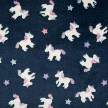 Fleece modrý, jednorožci a hvězdičky, š.145