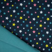 Softshell modrý, farebné hviezdy, š.145