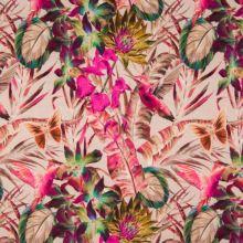 Úplet 22034 nude, barevné květy s kolibříky, š.150
