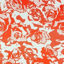 Šatovka bílá 11348, oranžový vzor, š.150